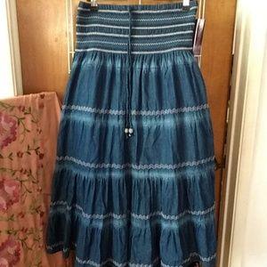 100% cotton denim tiered skirt